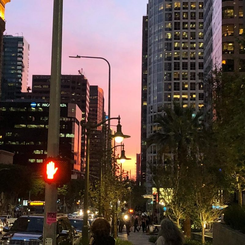 A gorgeous sunset looking south down Figueroa in dtla