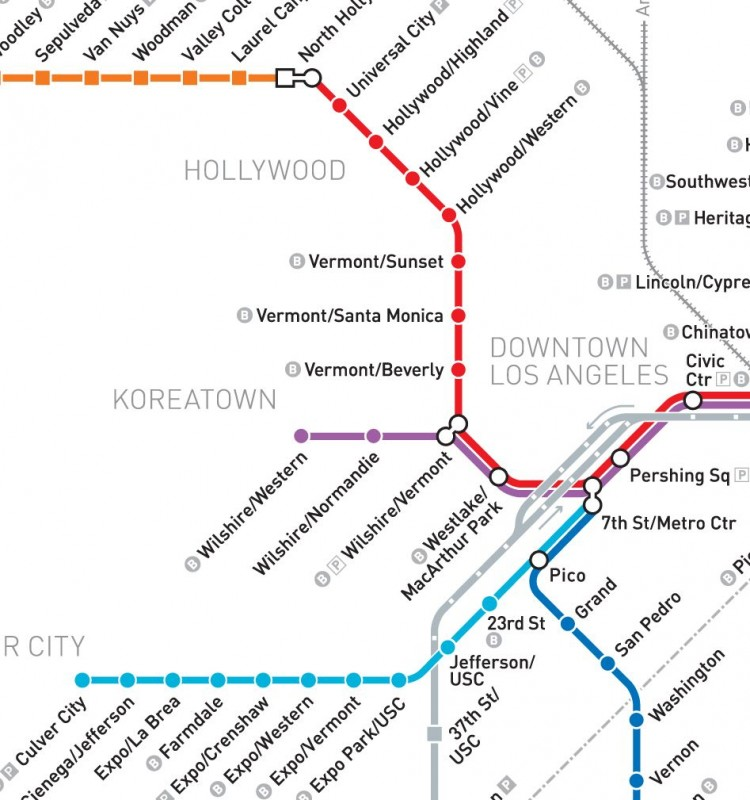 Redline Metro Map Los Angeles.Expo Line